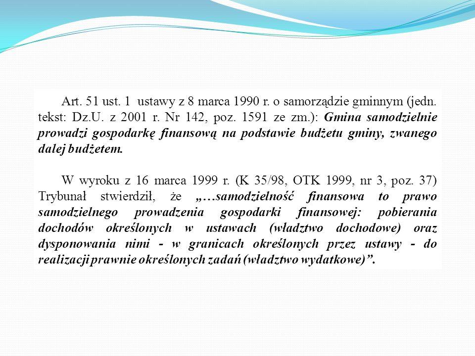 Art. 51 ust. 1 ustawy z 8 marca 1990 r. o samorządzie gminnym (jedn. tekst: Dz.U. z 2001 r. Nr 142, poz. 1591 ze zm.): Gmina samodzielnie prowadzi gos