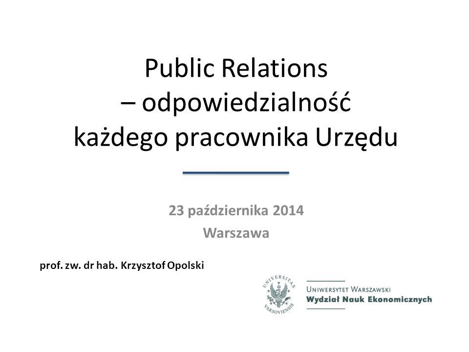 Public Relations – odpowiedzialność każdego pracownika Urzędu 23 października 2014 Warszawa prof.