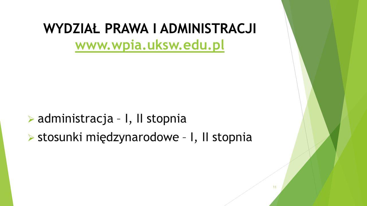 WYDZIAŁ PRAWA I ADMINISTRACJI www.wpia.uksw.edu.pl www.wpia.uksw.edu.pl  administracja – I, II stopnia  stosunki międzynarodowe – I, II stopnia 11