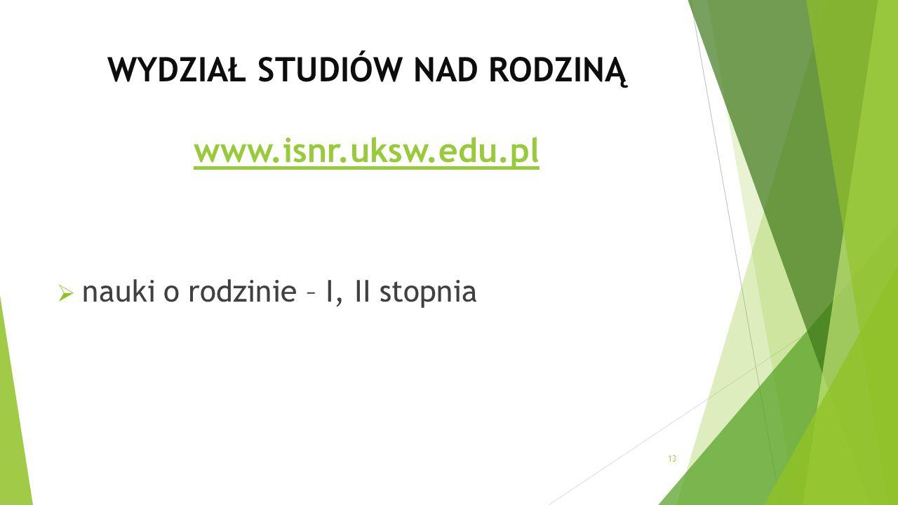 WYDZIAŁ STUDIÓW NAD RODZINĄ www.isnr.uksw.edu.pl www.isnr.uksw.edu.pl  nauki o rodzinie – I, II stopnia 13