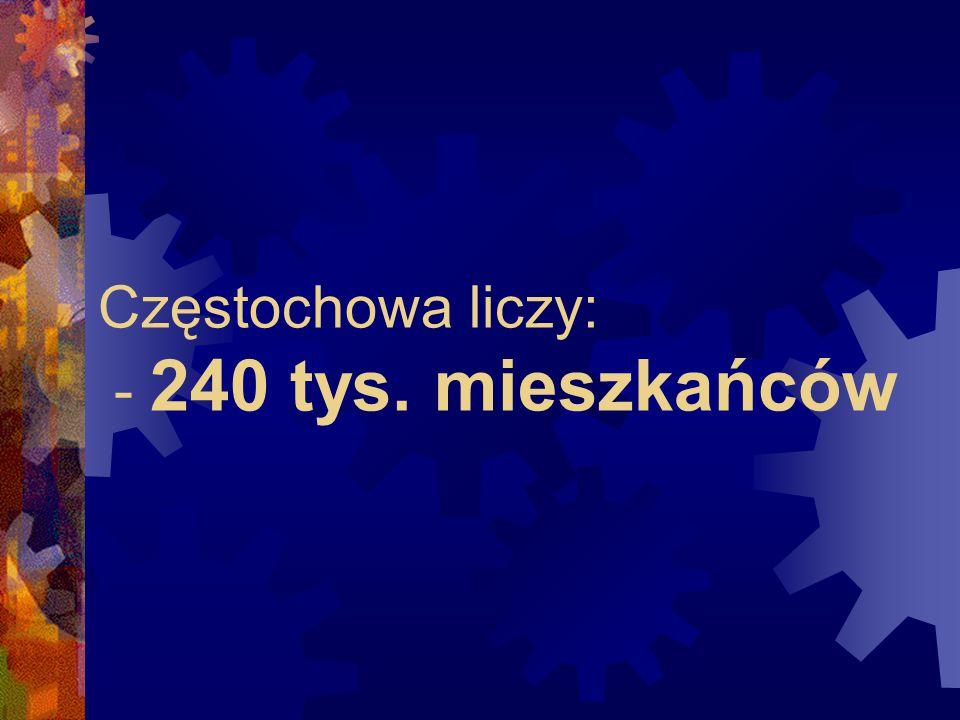 Częstochowa liczy: - 240 tys. mieszkańców