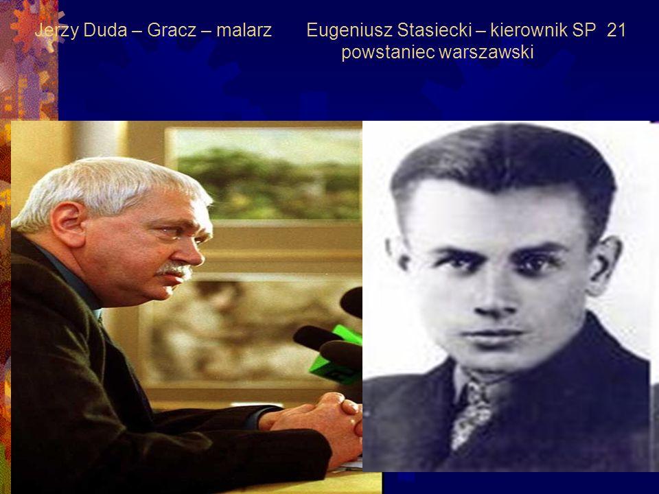 Jerzy Duda – Gracz – malarz Eugeniusz Stasiecki – kierownik SP 21 powstaniec warszawski