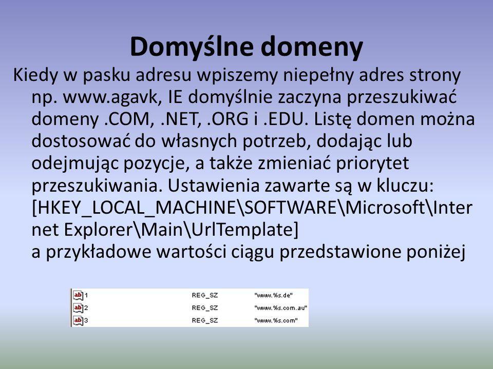 Domyślne domeny Kiedy w pasku adresu wpiszemy niepełny adres strony np.