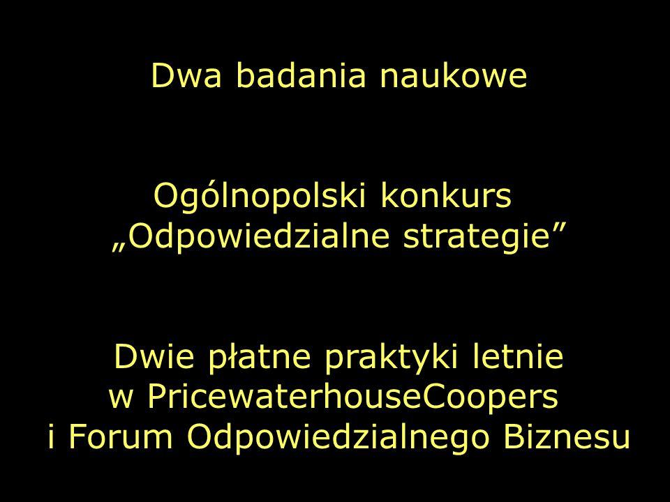 """Dwa badania naukowe Ogólnopolski konkurs """"Odpowiedzialne strategie Dwie płatne praktyki letnie w PricewaterhouseCoopers i Forum Odpowiedzialnego Biznesu"""
