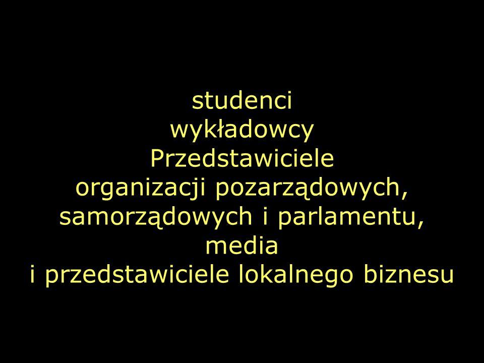studenci wykładowcy Przedstawiciele organizacji pozarządowych, samorządowych i parlamentu, media i przedstawiciele lokalnego biznesu