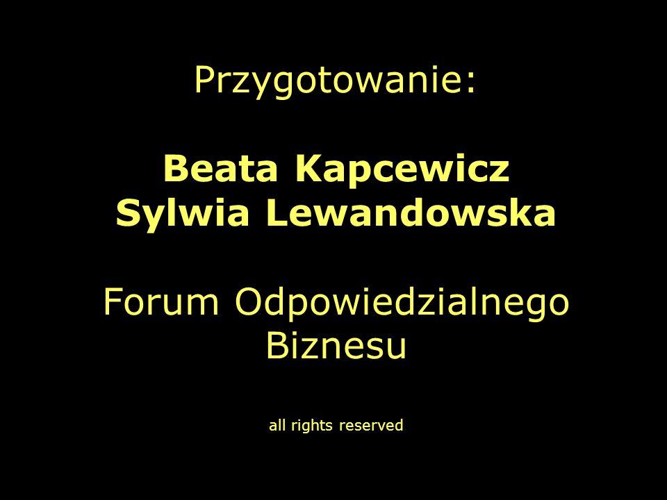 Przygotowanie: Beata Kapcewicz Sylwia Lewandowska Forum Odpowiedzialnego Biznesu all rights reserved