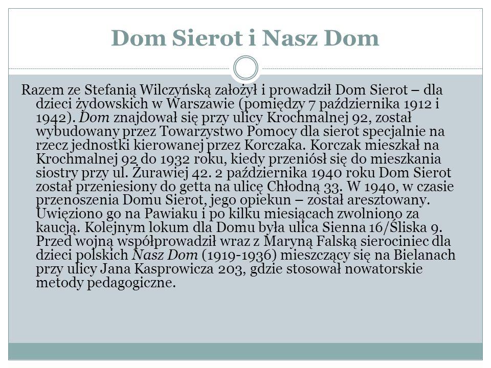 Dom Sierot i Nasz Dom Razem ze Stefanią Wilczyńską założył i prowadził Dom Sierot – dla dzieci żydowskich w Warszawie (pomiędzy 7 października 1912 i