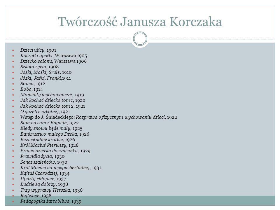 Twórczość Janusza Korczaka Dzieci ulicy, 1901 Koszałki opałki, Warszawa 1905 Dziecko salonu, Warszawa 1906 Szkoła życia, 1908 Jośki, Mośki, Srule, 191