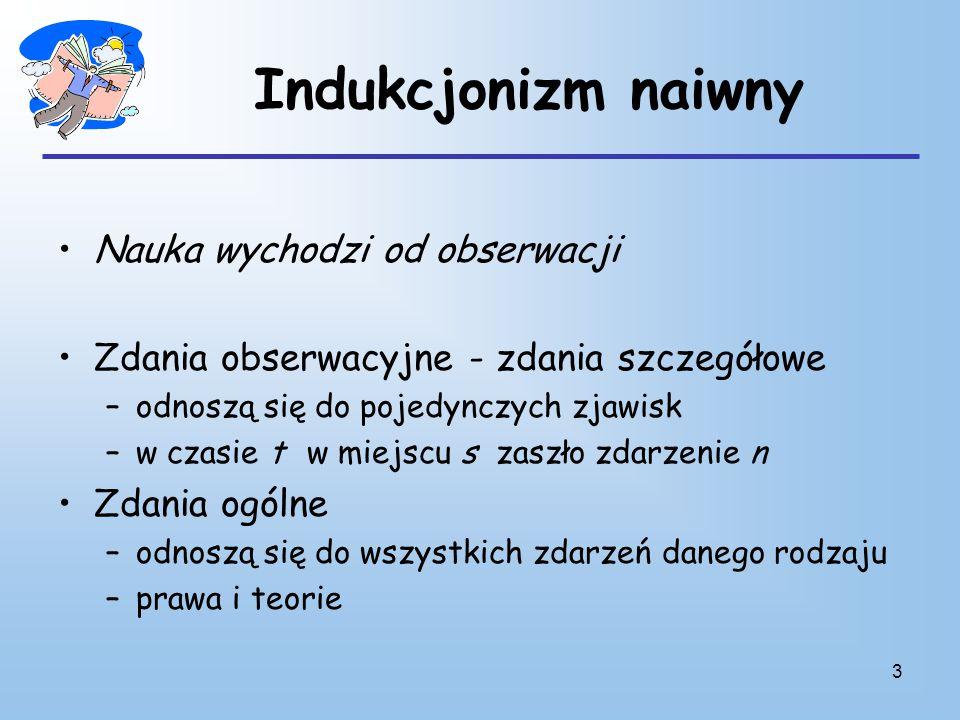 4 Indukcjonizm naiwny Zdania szczegółowe —> zdanie ogólne –Duża liczba zdań obserwacyjnych –Obserwacje prowadzone w różnych okolicznościach –Żadna obserwacja nie przeczy zdaniu ogólnemu