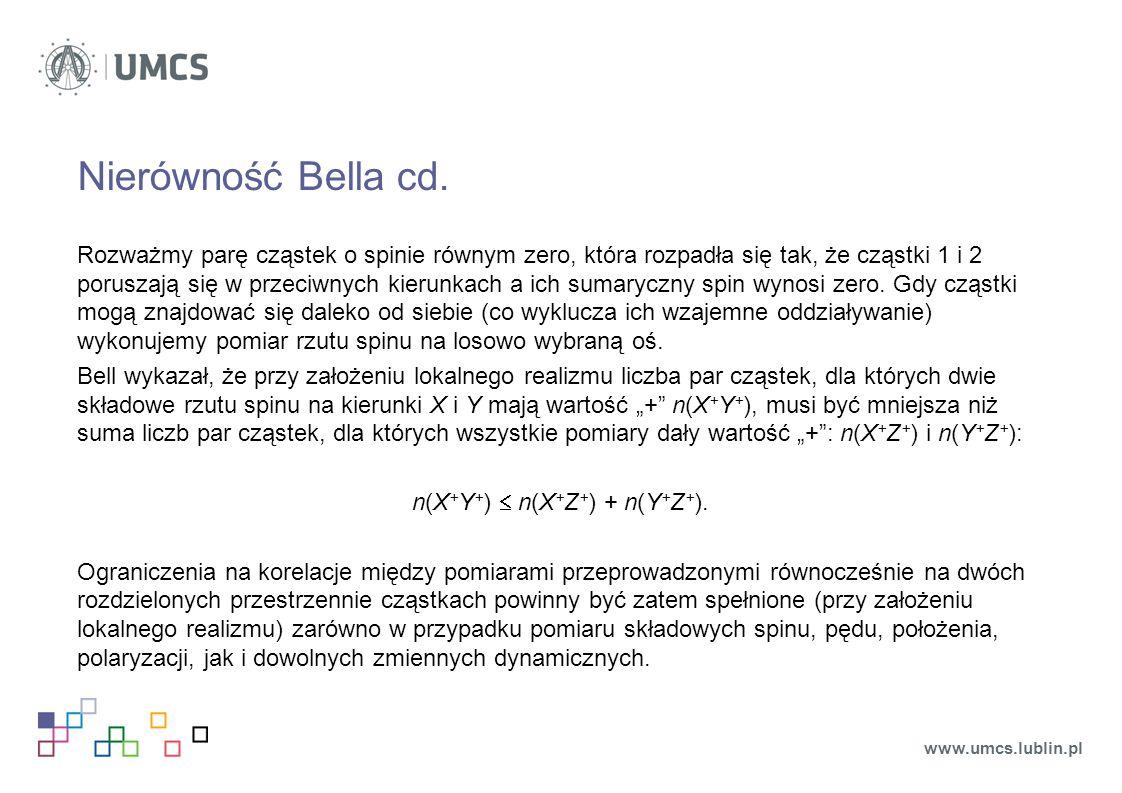 Nierówność Bella cd. Rozważmy parę cząstek o spinie równym zero, która rozpadła się tak, że cząstki 1 i 2 poruszają się w przeciwnych kierunkach a ich