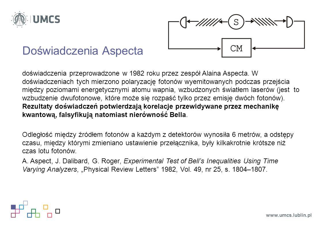 Doświadczenia Aspecta doświadczenia przeprowadzone w 1982 roku przez zespół Alaina Aspecta. W doświadczeniach tych mierzono polaryzację fotonów wyemit