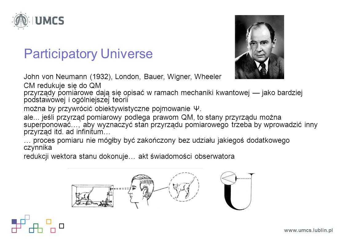 Participatory Universe John von Neumann (1932), London, Bauer, Wigner, Wheeler CM redukuje się do QM przyrządy pomiarowe dają się opisać w ramach mech