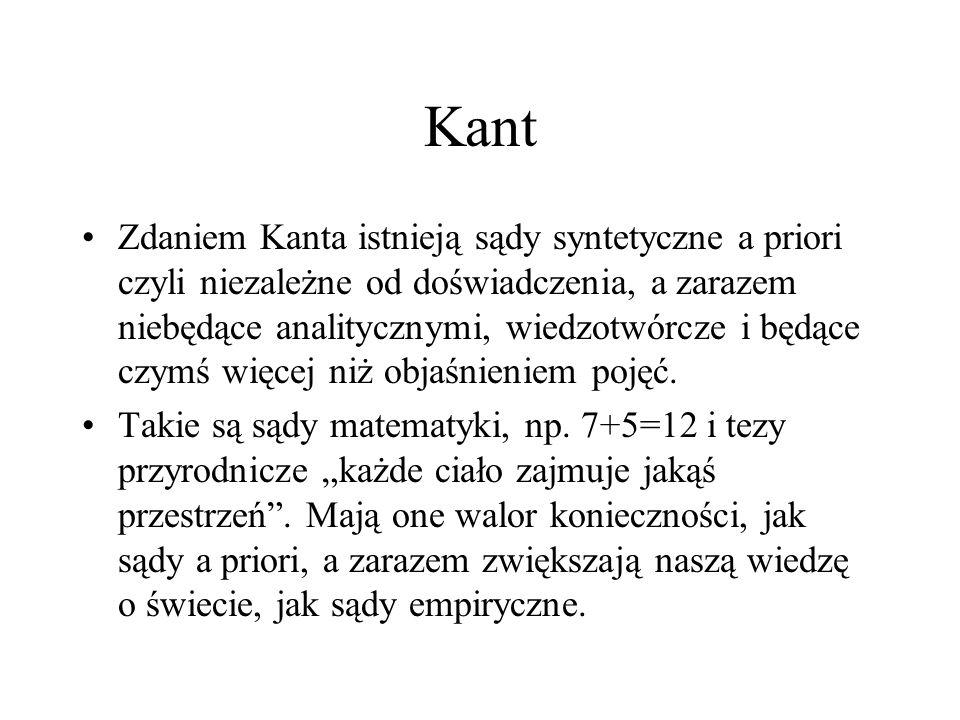 Kant Zdaniem Kanta istnieją sądy syntetyczne a priori czyli niezależne od doświadczenia, a zarazem niebędące analitycznymi, wiedzotwórcze i będące czy