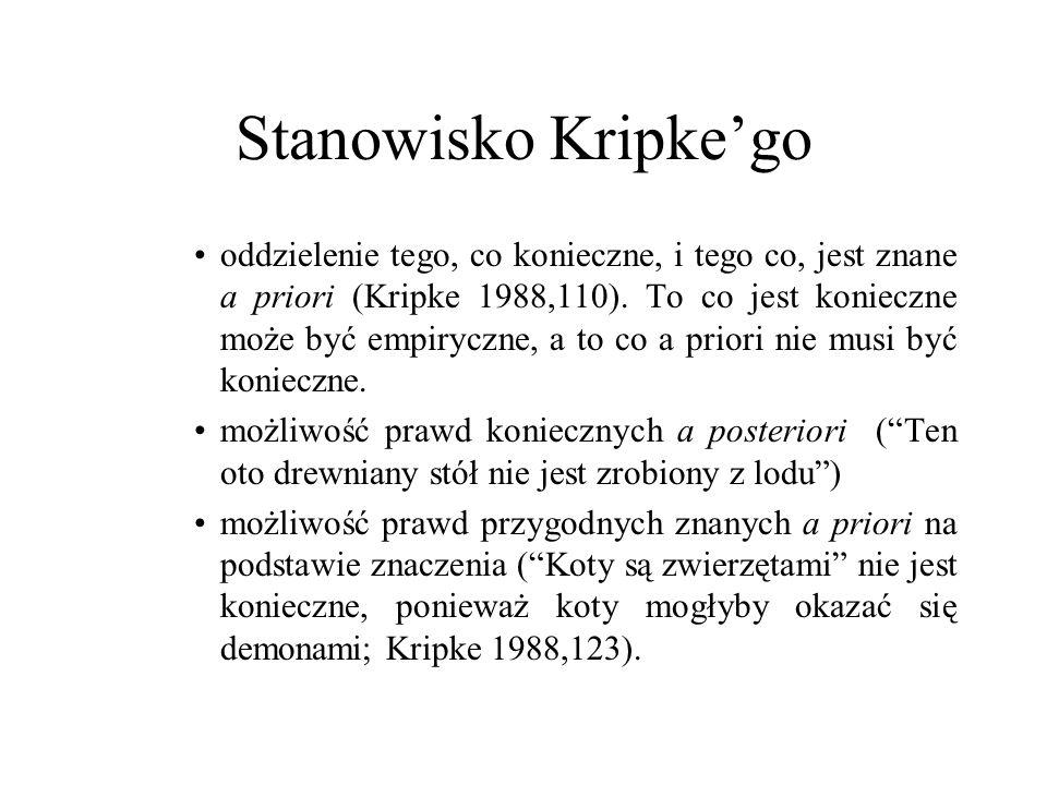 Stanowisko Kripke'go oddzielenie tego, co konieczne, i tego co, jest znane a priori (Kripke 1988,110). To co jest konieczne może być empiryczne, a to