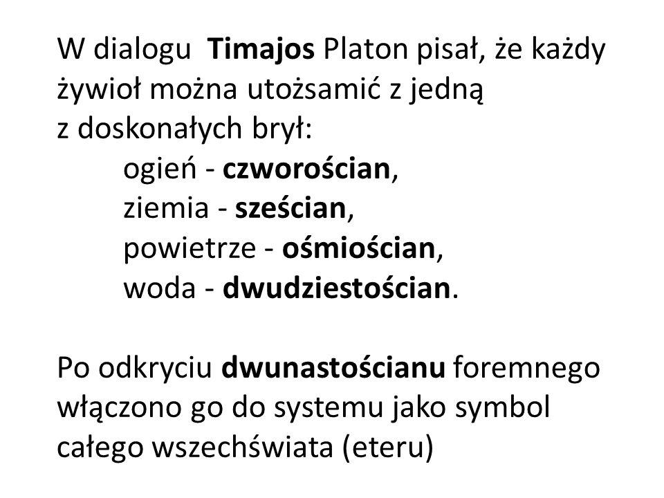 W dialogu Timajos Platon pisał, że każdy żywioł można utożsamić z jedną z doskonałych brył: ogień - czworościan, ziemia - sześcian, powietrze - ośmioś