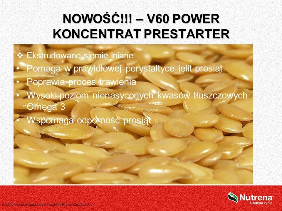 © 2005 Cargill Incorporated. Wszelkie Prawa Zastrzeżone.  Ekstrudowane siemię lniane Pomaga w prawidłowej perystaltyce jelit prosiąt Poprawia proces
