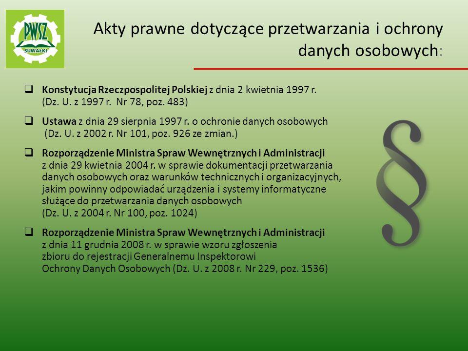 Zasady Bezpieczeństwa Informacji  Pracownik PWSZ w Suwałkach jest zobowiązany zachować poufność przetwarzanych danych oraz sposobów ich zabezpieczenia.