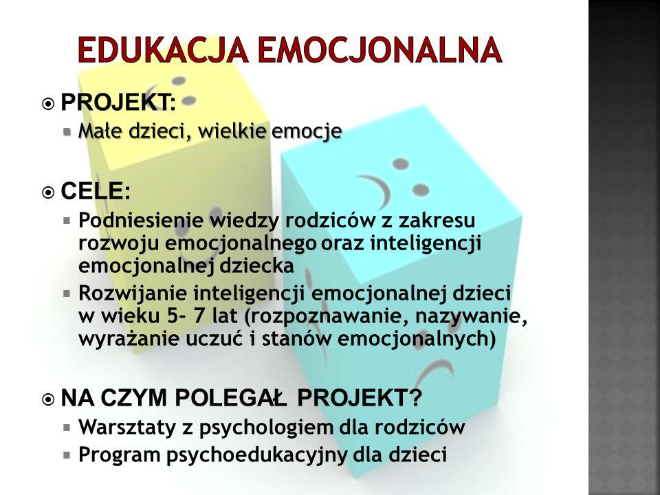  PROJEKT:  Małe dzieci, wielkie emocje  CELE:  Podniesienie wiedzy rodziców z zakresu rozwoju emocjonalnego oraz inteligencji emocjonalnej dziecka