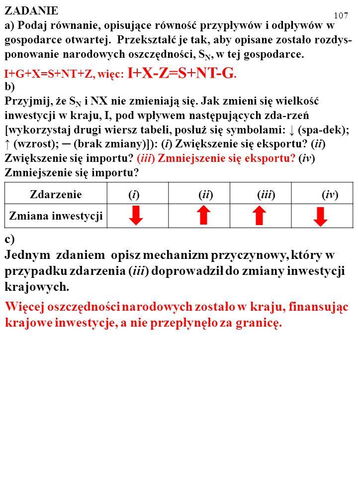 106 ZADANIE a) Podaj równanie, opisujące równość przypływów i odpływów w gospodarce otwartej.