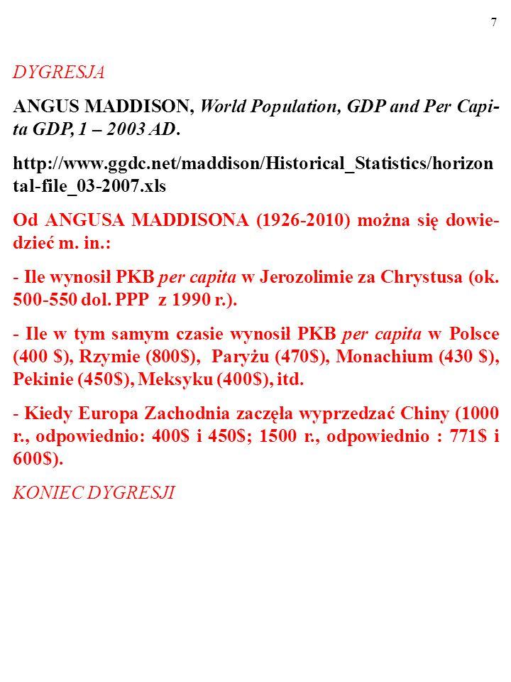 7 DYGRESJA ANGUS MADDISON, World Population, GDP and Per Capi- ta GDP, 1 – 2003 AD.