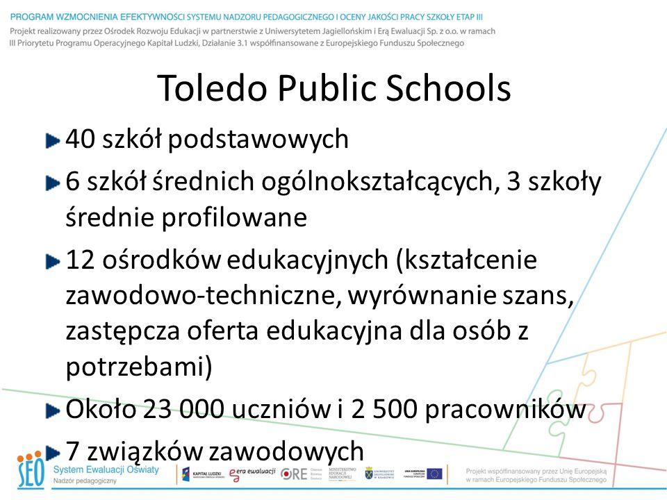 Toledo Public Schools 40 szkół podstawowych 6 szkół średnich ogólnokształcących, 3 szkoły średnie profilowane 12 ośrodków edukacyjnych (kształcenie zawodowo-techniczne, wyrównanie szans, zastępcza oferta edukacyjna dla osób z potrzebami) Około 23 000 uczniów i 2 500 pracowników 7 związków zawodowych