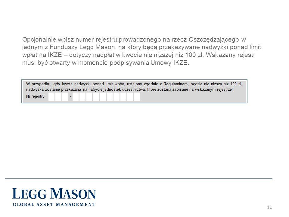 11 Opcjonalnie wpisz numer rejestru prowadzonego na rzecz Oszczędzającego w jednym z Funduszy Legg Mason, na który będą przekazywane nadwyżki ponad limit wpłat na IKZE – dotyczy nadpłat w kwocie nie niższej niż 100 zł.
