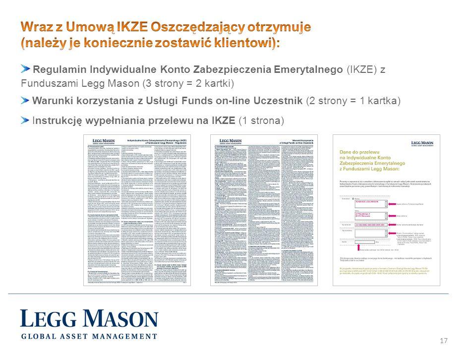 17 Regulamin Indywidualne Konto Zabezpieczenia Emerytalnego (IKZE) z Funduszami Legg Mason (3 strony = 2 kartki) Warunki korzystania z Usługi Funds on
