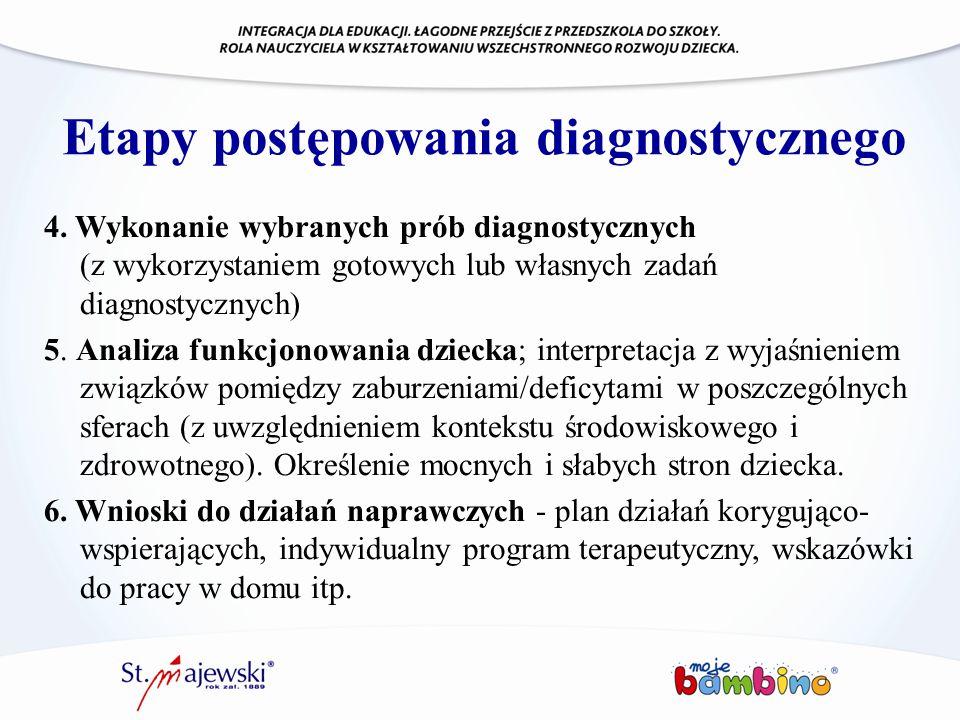Etapy postępowania diagnostycznego 4. Wykonanie wybranych prób diagnostycznych (z wykorzystaniem gotowych lub własnych zadań diagnostycznych) 5. Anali