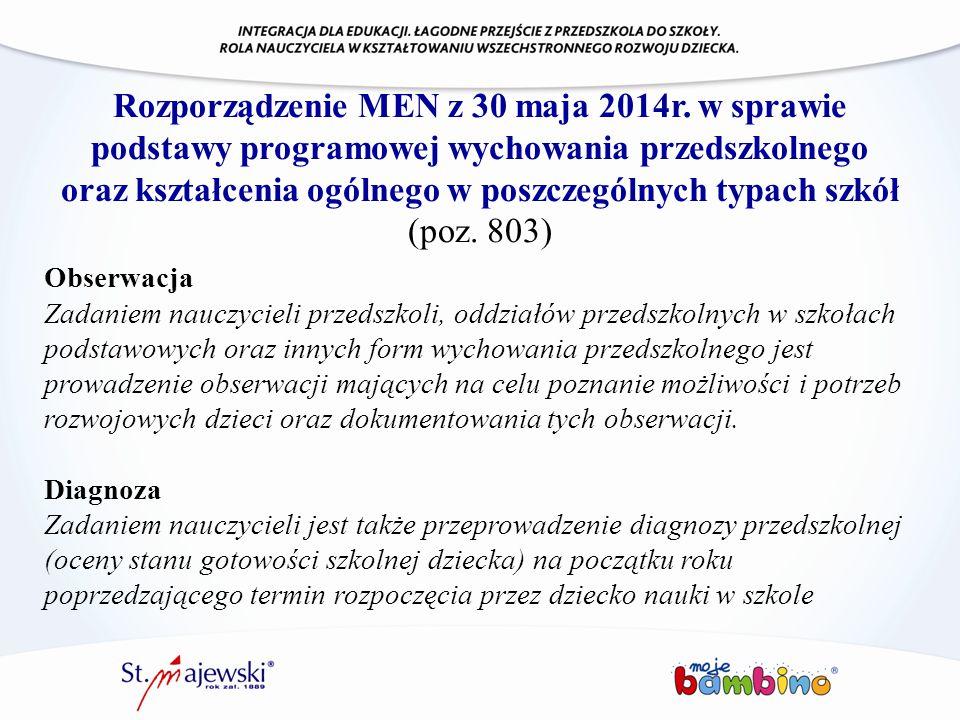 Rozporządzenie MEN z 30 maja 2014r. w sprawie podstawy programowej wychowania przedszkolnego oraz kształcenia ogólnego w poszczególnych typach szkół (