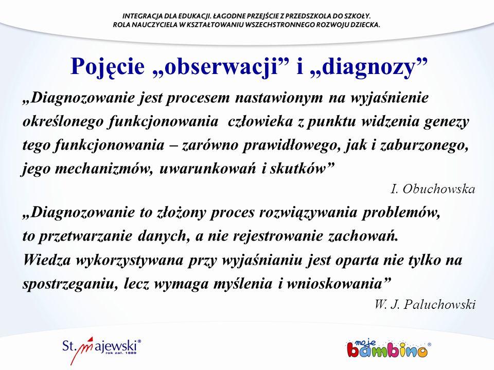 """Pojęcie """"obserwacji"""" i """"diagnozy"""" """"Diagnozowanie jest procesem nastawionym na wyjaśnienie określonego funkcjonowania człowieka z punktu widzenia genez"""