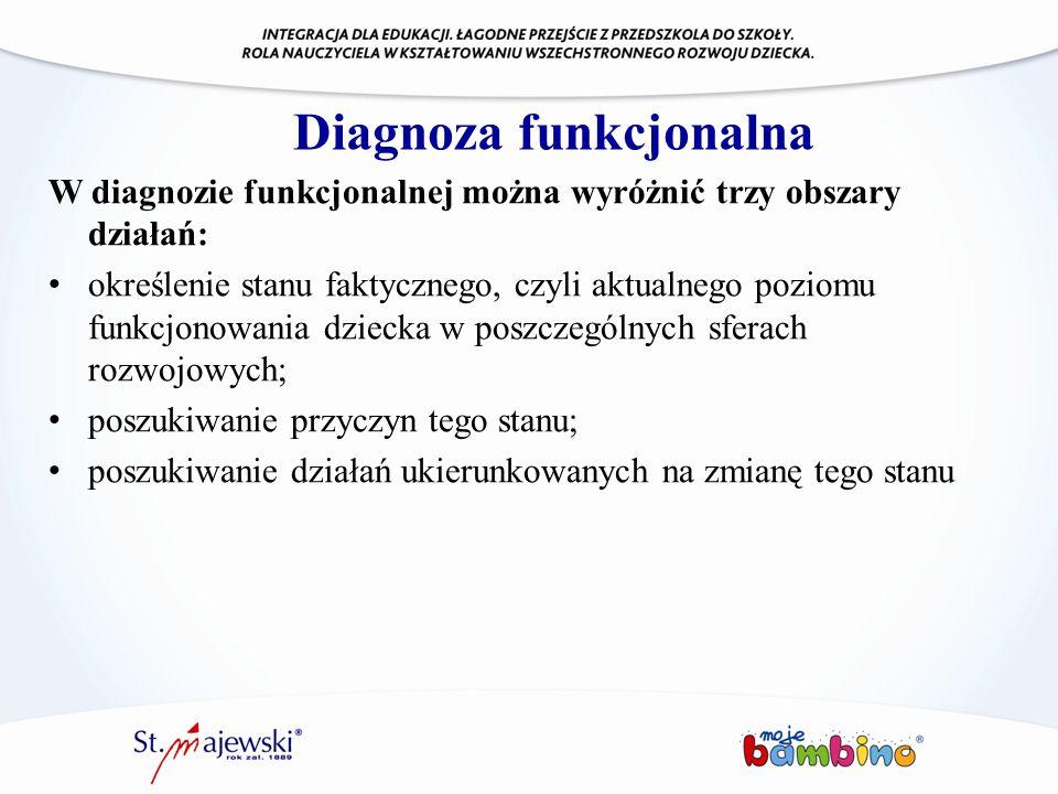 Diagnoza funkcjonalna W diagnozie funkcjonalnej można wyróżnić trzy obszary działań: określenie stanu faktycznego, czyli aktualnego poziomu funkcjonow
