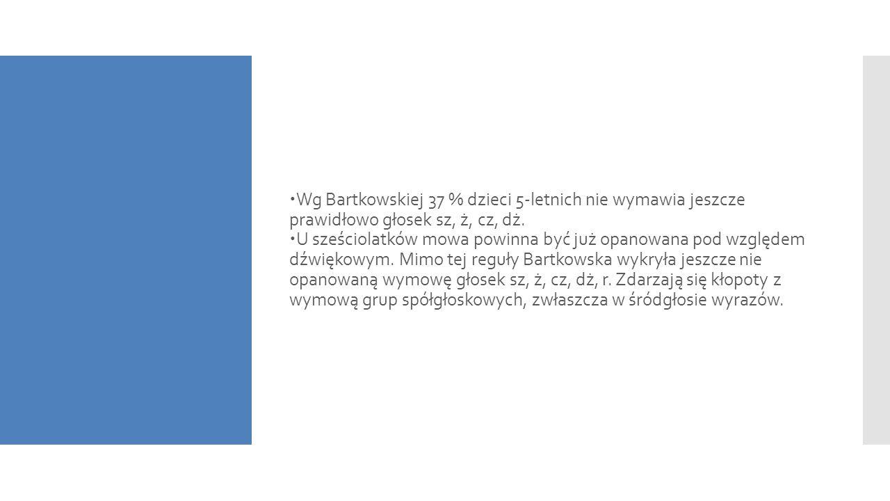  Wg Bartkowskiej 37 % dzieci 5-letnich nie wymawia jeszcze prawidłowo głosek sz, ż, cz, dż.  U sześciolatków mowa powinna być już opanowana pod wzgl