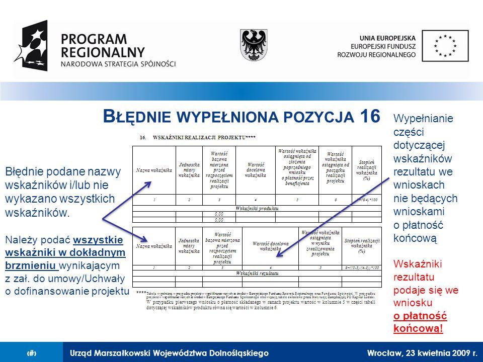 Urząd Marszałkowski Województwa Dolnośląskiego27 lutego 2008 r.12 B ŁĘDNIE WYPEŁNIONA POZYCJA 16 Błędnie podane nazwy wskaźników i/lub nie wykazano wszystkich wskaźników.