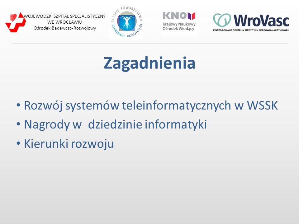 WOJEWÓDZKI SZPITAL SPECJALISTYCZNY WE WROCŁAWIU Ośrodek Badawczo-Rozwojowy Zagadnienia Rozwój systemów teleinformatycznych w WSSK Nagrody w dziedzinie