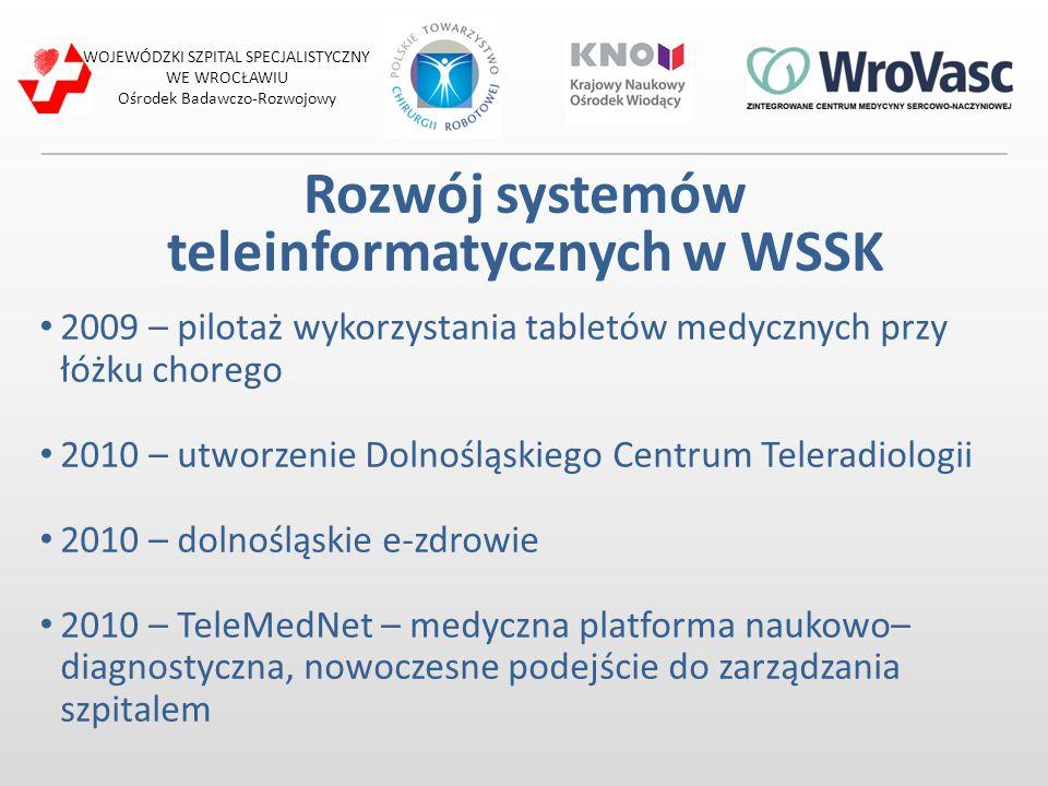 Rozwój systemów teleinformatycznych w WSSK 2009 – pilotaż wykorzystania tabletów medycznych przy łóżku chorego 2010 – utworzenie Dolnośląskiego Centru