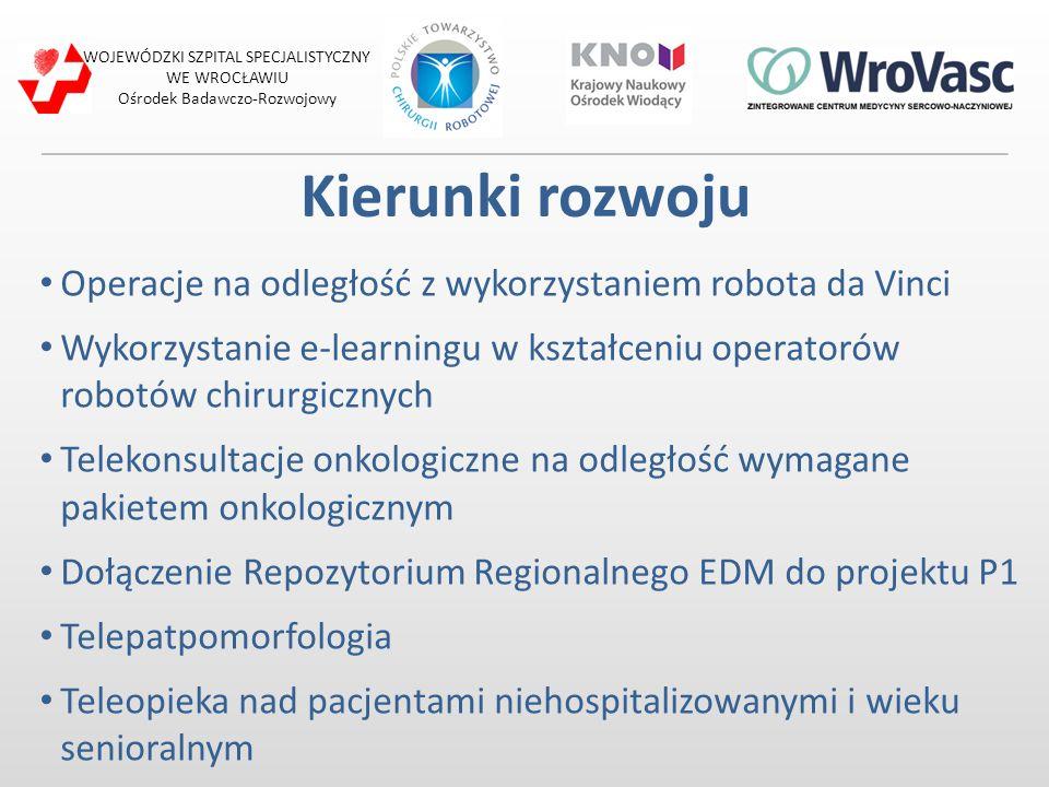 Kierunki rozwoju Operacje na odległość z wykorzystaniem robota da Vinci Wykorzystanie e-learningu w kształceniu operatorów robotów chirurgicznych Tele