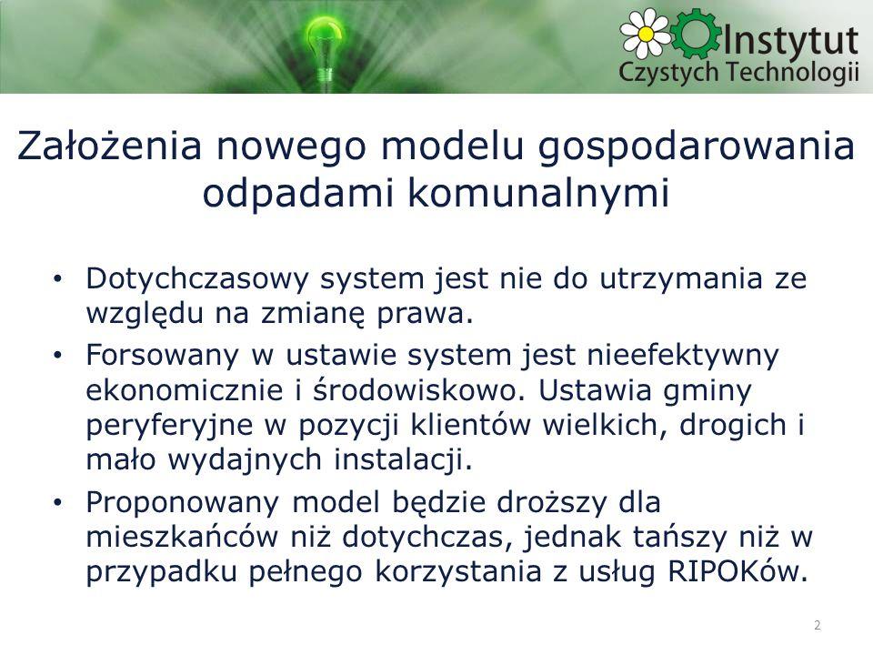 3 Podstawowe cele modelu Ograniczenie nakładów finansowych – inwestycyjnych – eksploatacyjnych Dążenie do pełnego pokrycia kosztów funkcjonowania systemu z opłat właścicieli nieruchomości i środków zewnętrznych Unikanie kar z art.