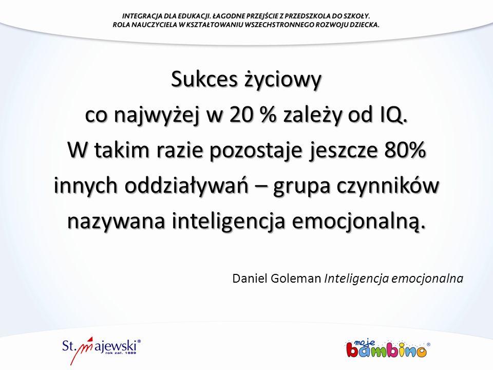 Sukces życiowy co najwyżej w 20 % zależy od IQ. W takim razie pozostaje jeszcze 80% innych oddziaływań – grupa czynników nazywana inteligencja emocjon