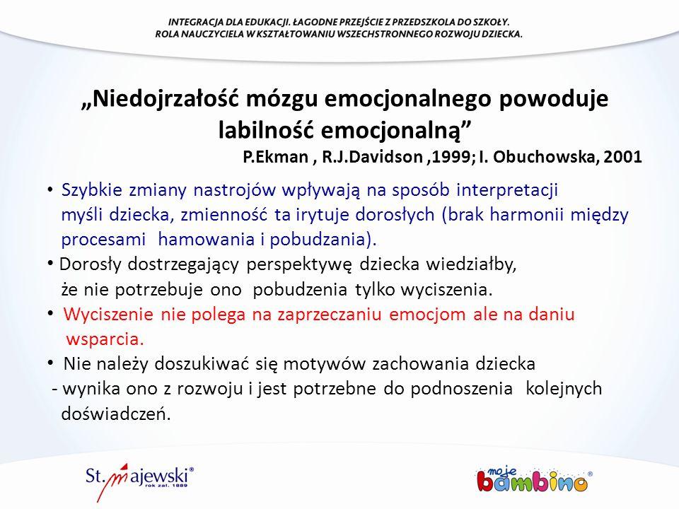 """""""Niedojrzałość mózgu emocjonalnego powoduje labilność emocjonalną"""" P.Ekman, R.J.Davidson,1999; I. Obuchowska, 2001 Szybkie zmiany nastrojów wpływają n"""