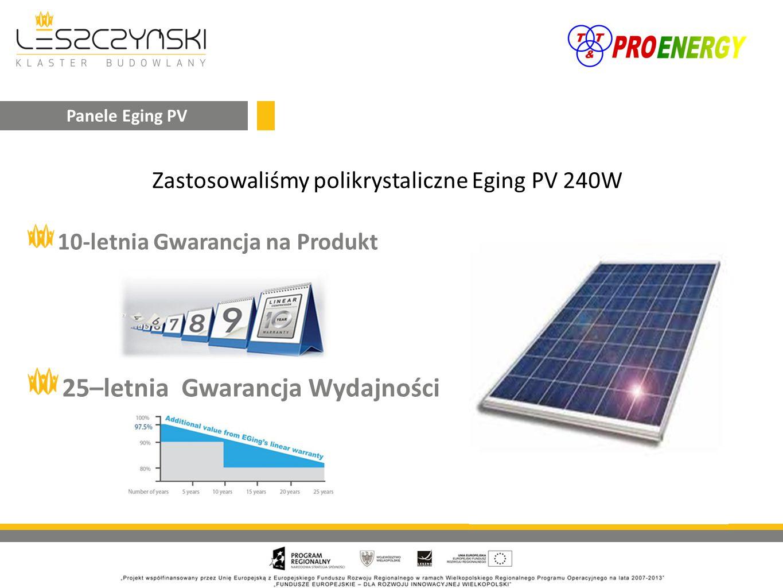 Zastosowaliśmy polikrystaliczne Eging PV 240W 10-letnia Gwarancja na Produkt 25–letnia Gwarancja Wydajności Panele Eging PV