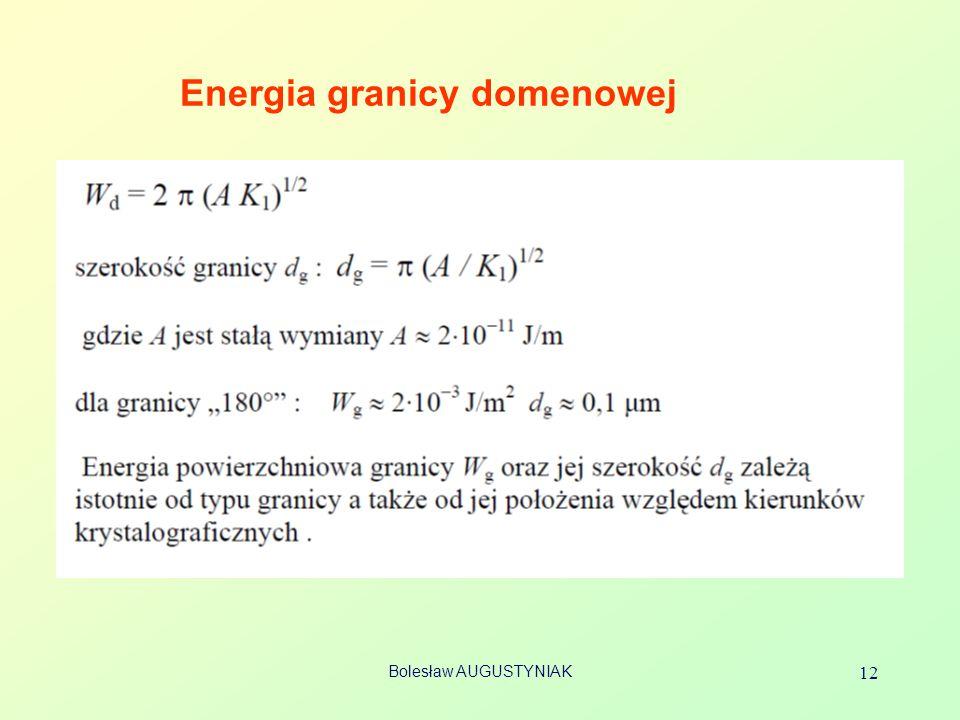 Bolesław AUGUSTYNIAK 12 Energia granicy domenowej