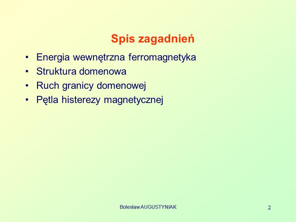 Bolesław AUGUSTYNIAK 2 2 Spis zagadnień Energia wewnętrzna ferromagnetyka Struktura domenowa Ruch granicy domenowej Pętla histerezy magnetycznej