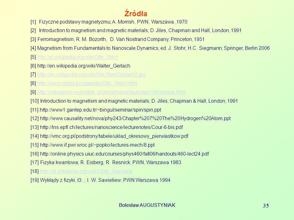 Bolesław AUGUSTYNIAK 35 Bolesław AUGUSTYNIAK 35 Źródła [1] Fizyczne podstawy magnetyzmu; A. Morrish, PWN, Warszawa,1970 [2] Introduction to magnetism