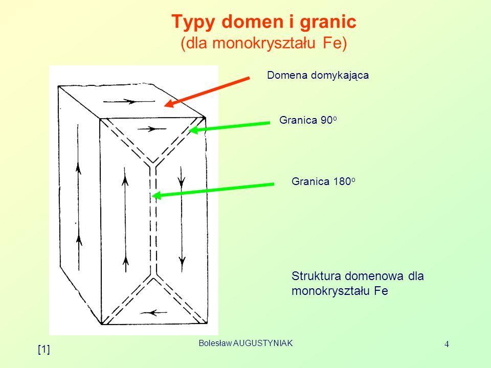 Bolesław AUGUSTYNIAK 4 Typy domen i granic (dla monokryształu Fe) Domena domykająca Granica 90 o Granica 180 o Struktura domenowa dla monokryształu Fe