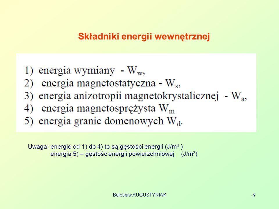 Bolesław AUGUSTYNIAK 5 Składniki energii wewnętrznej Uwaga: energie od 1) do 4) to są gęstości energii (J/m 3 ) energia 5) – gęstość energii powierzch