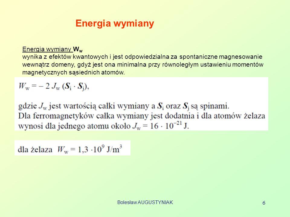 Bolesław AUGUSTYNIAK 6 Energia wymiany Energia wymiany W w wynika z efektów kwantowych i jest odpowiedzialna za spontaniczne magnesowanie wewnątrz dom