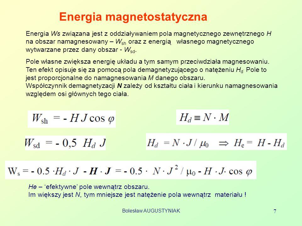 Bolesław AUGUSTYNIAK 7 Energia magnetostatyczna Energia Ws związana jest z oddziaływaniem pola magnetycznego zewnętrznego H na obszar namagnesowany –