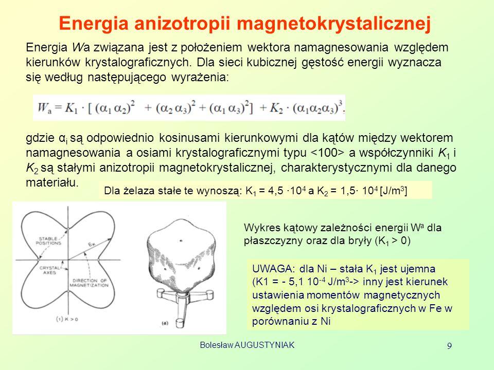 Bolesław AUGUSTYNIAK 9 Energia anizotropii magnetokrystalicznej Energia Wa związana jest z położeniem wektora namagnesowania względem kierunków krysta