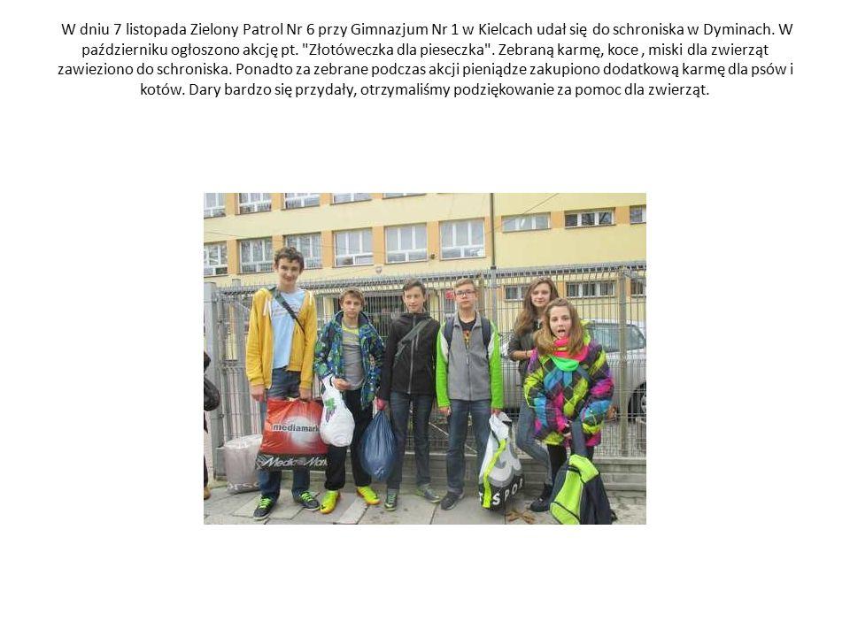 W dniu 7 listopada Zielony Patrol Nr 6 przy Gimnazjum Nr 1 w Kielcach udał się do schroniska w Dyminach. W październiku ogłoszono akcję pt.