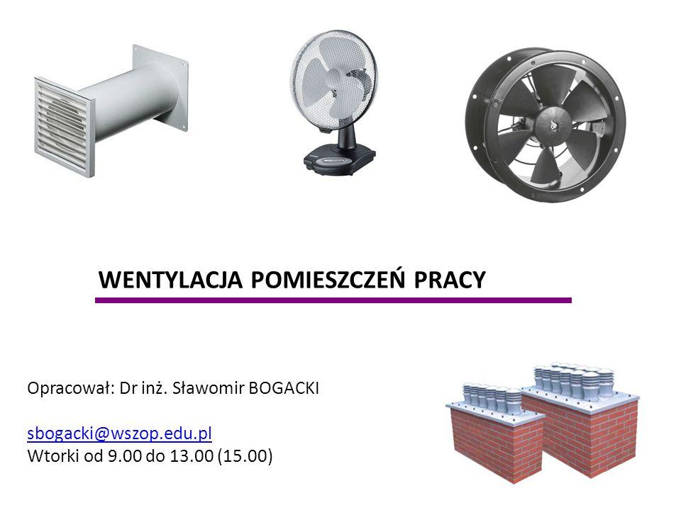 WENTYLACJA POMIESZCZEŃ PRACY Opracował: Dr inż. Sławomir BOGACKI sbogacki@wszop.edu.pl Wtorki od 9.00 do 13.00 (15.00)